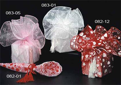 Heart Print Organza Wrapper