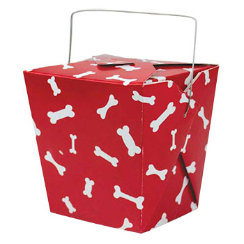 Red And White Dog Bone Paper Take Out Box