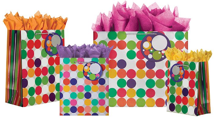 Chrome Dots Gift Totes Rope Handles Collection