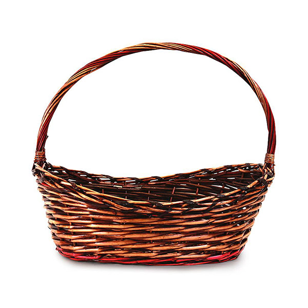 2126 Oval Brown Basket w/ Red Accent