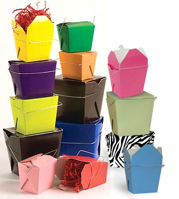 Designer Colored Chinese Take-Out Boxes