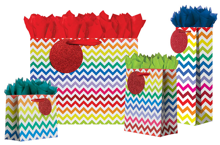 Bright Chevron Gift Totes Rope Handles Collection