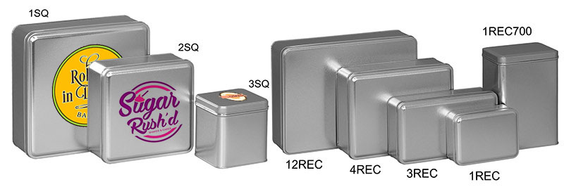 Silver Color Metallic Tins w/Full Color Imprint