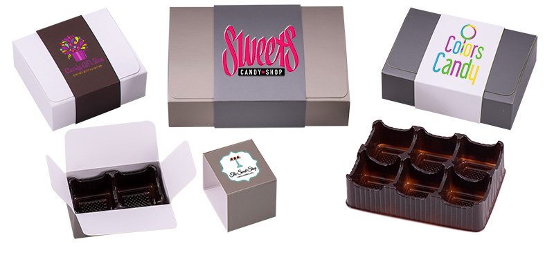 Flap Top Candy Boxes w/ 4-Color Imprinted Sleeves