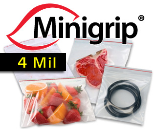 4 Mil. Premium Minigrip Red Lined Bags