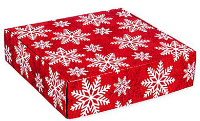 Red & White Snowflake Corrugated Mailer Boxes
