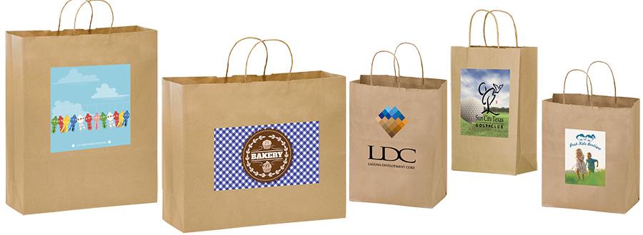 Short Run 4 Color Imprint Brown Kraft Bags