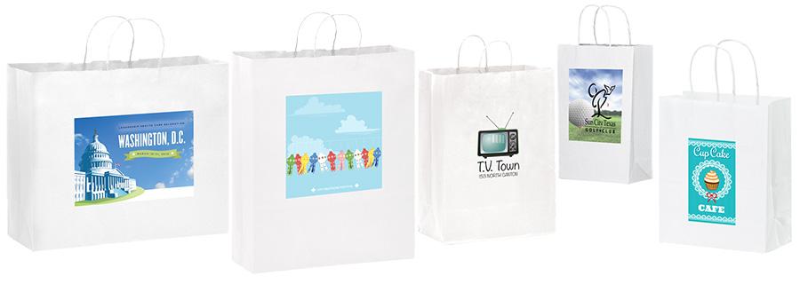 Short Run 4 Color Imprint White Kraft Bags