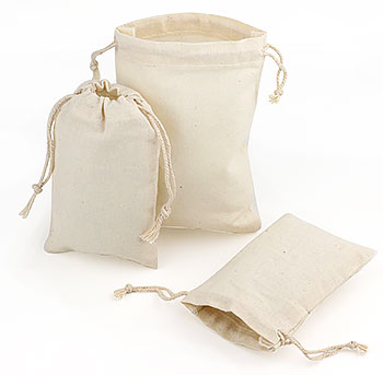 Natural Cotton Pull Drawstring Pouches