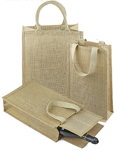Jute Wine Tote with Dividers