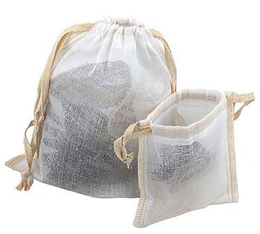 Sheer Muslin Pouches w/ Cotton Twill Ribbon Drawstring & Serged Seams