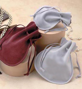 Double Faced Simulated Suede Drawstring Jewelry Pouches