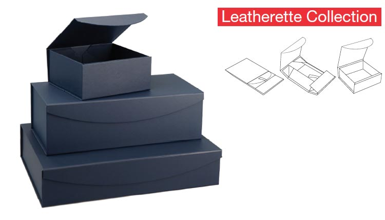 Magnetic Navy Leatherette Curved  Flap Boxes