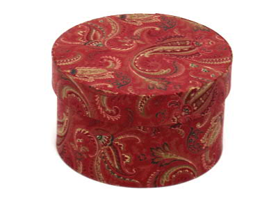Red Paisley Round Fabric Boxes
