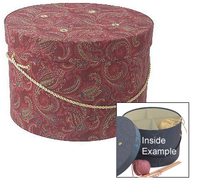 Red Paisley Knitting and Sewing Boxes