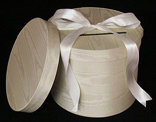 Round Ivory Moire Wedding Boxes