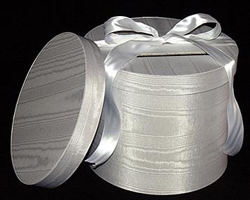 Round White Moire Wedding Boxes