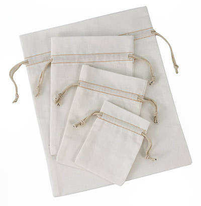 Bleached White Cotton Pouch  w/ Ivory Cords