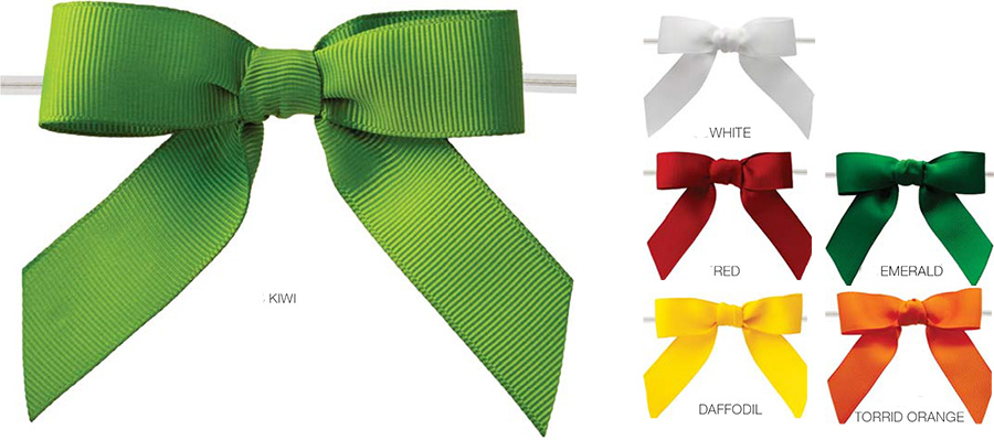 Pretied Grosgrain Bows With Wire Twist