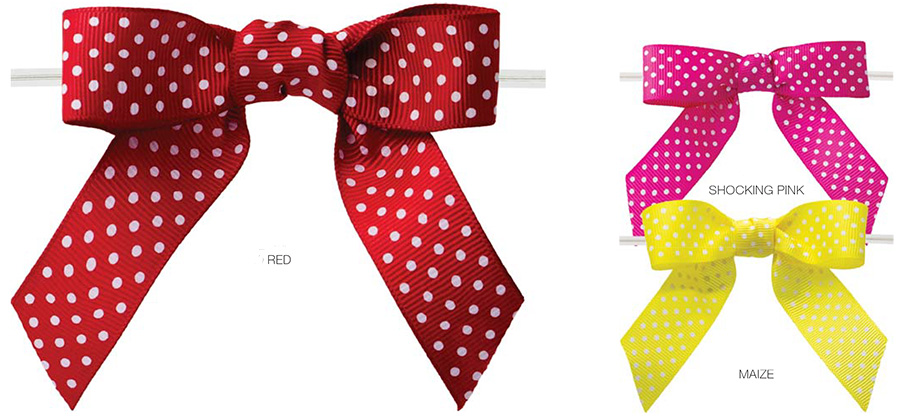 Pretied Grosgrain Polka Dot Bows With Wire Twist