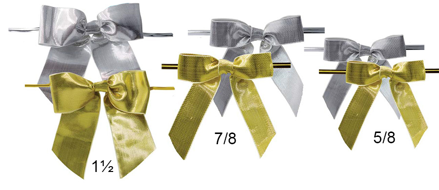 Pretied Metallic Bows With Wire Twist