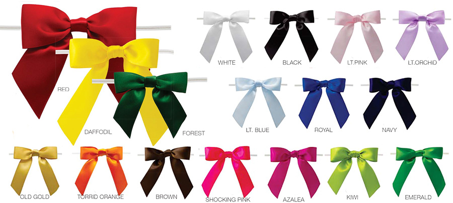 Pretied Satin Bows With Wire Twist