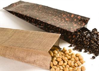 Heat Sealable Burlap/Bean Photo Laminated Foil Bags