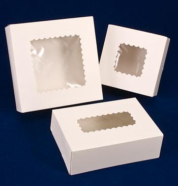 White Windowed Cake Bakery Boxes