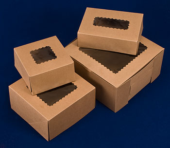 Kraft Windowed Cake Bakery Boxes
