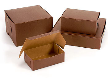 Cocoa Color Lock Corner Cake Bakery Boxes