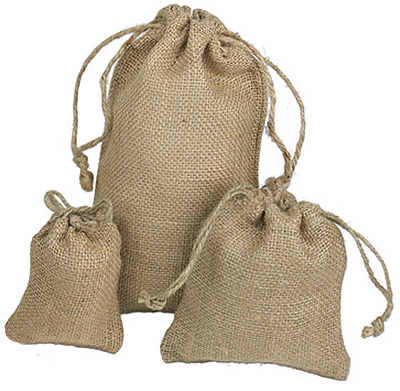 Natural Burlap Drawstring Pouches
