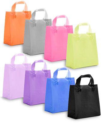Colored Frosted Shopping Bags w/Soft Loop Handles