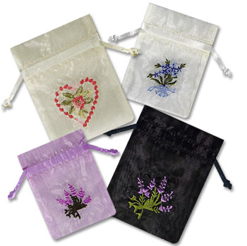Embroidered Floral Pouches