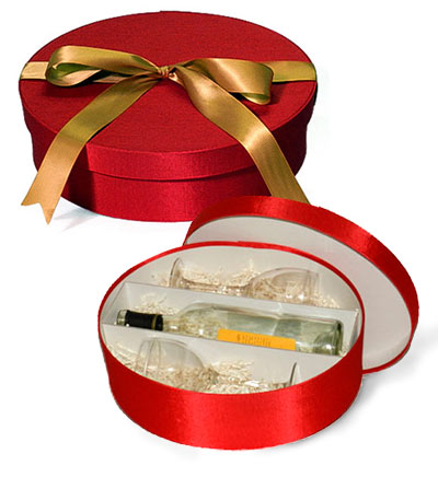 Fabric Covered Wine Bottle and Glass Gift Box