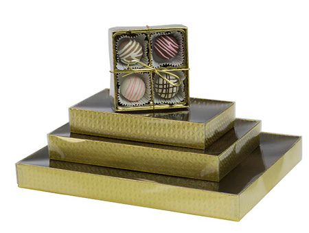Gold Diamond Candy Boxes w/Clear Lids Collection