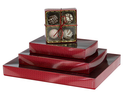 Red Diamond Candy Boxes w/Clear Lids Collection