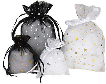 Metallic Star Organza Pouch