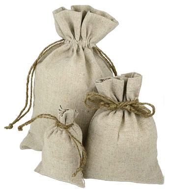 Linen Pouches With Hemp Drawstring