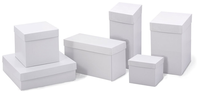 White High Walled 2 Piece Box w/Rigid Setup Lids - Bases and Lids sold separately