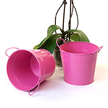 6 1/2in. Bright Pink Painted Pail w/Side Handles