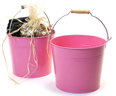8 1/2in. Pink Pail Wooden Handle