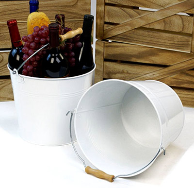10in. White Pail Wooden Handle