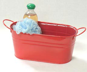 12in. Red Painted Oval Tub w/Side Handles