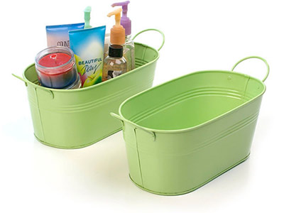 12in. Lime Green Painted Oval Tub w/Side Handles