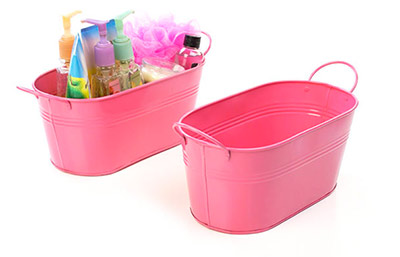 12in. Pink Painted Oval Tub w/Side Handles