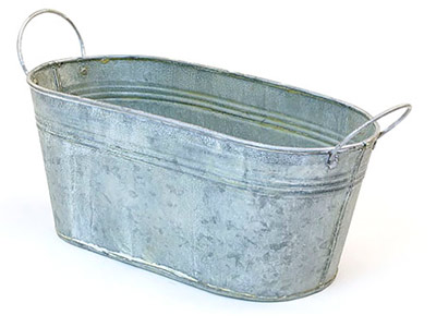 12in. Vintage Oval Tub w/Side Handles
