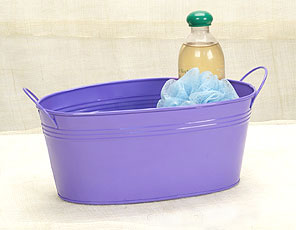 12in. Purple Painted Oval Tub w/Side Handles
