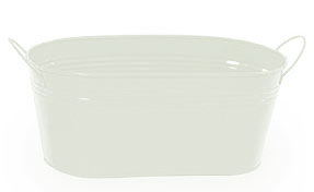12in. White Painted Oval Tub w/Side Handles