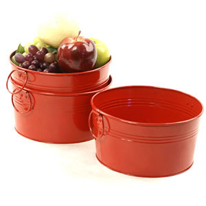 8in. Red Galvanized Round Tub
