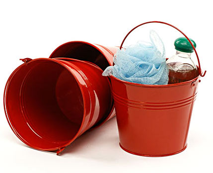 6 in. Round Red Painted Handle Pail